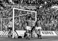 The Benfica players, Nené and Humberto Coelho, celebrate a goal during the match against Sporting in Luz Stadium, Lisbon on 19th November 1978.
