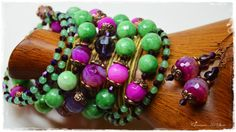 "Purple and Mint Green jewelry set ""Bella"" by Charisma Art Store, wide memory - bracelet and earrings, agate, glass beads by CharismaArtStore on Etsy"