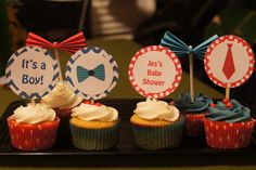 Bow Tie Baby Shower Cupcakes