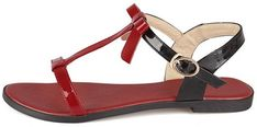 Amazon.com   WeenFashion Women's Assorted Color Cow Leather No-Heel Open Toe Buckle Flats-Sandals, Red, 33   Flats