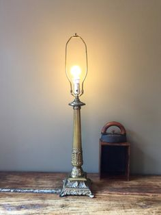 Vintage French Shabby Chic Brass Table Lamp by HoneyBeeHillVintage