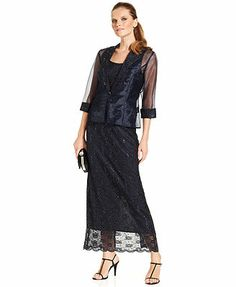R&M Richards Dress and Jacket, Sleeveless Sequined Scalloped Lace