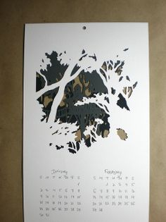Tree house papercut calendar by woodland papercuts, via Flickr
