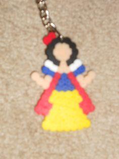 snow white perler beads keychain