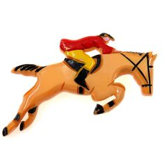 Carved Painted Bakelite Pin Brooch Jumping Horse and Rider