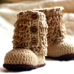 Baby Boots Crochet Pattern  Furrylicious by TwoGirlsPatterns, $5.50 these are awesome! I really need to learn how to crochet!!