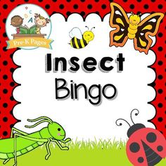 Free printable bingo game for a bug or insect theme in your preschool, pre-k, or kindergarten classroom. Includes both a black and white and a color version!