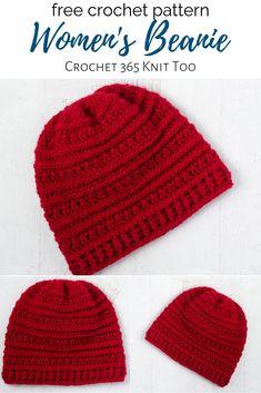 Buckeye Beanie, free crochet pattern for women's hat designed by Crochet 365 Knit Too. Crochet Adult Hat, Crochet Winter Hats, Crochet Hat For Women, Crochet Beanie Hat, Crochet Hats, Knit Hats, Crochet Patterns Free Women, Afghan Crochet Patterns, Free Crochet