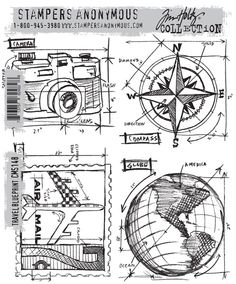 Stamper's Anonymous - Tim Holtz - Cling Mounted Rubber Stamp Set - Travel Blueprint at Scrapbook.com $21.95