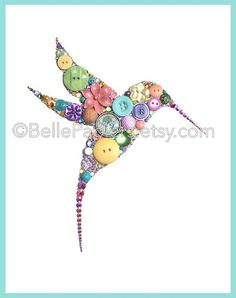 Hummingbird Wall Art | Button Art Hummingbird | Button Canvas | Button Picture | Choose Your Own Colors  Any color or color scheme is possible, just let me know in note to seller when checking out and/or send me a message! If youre pleased with the photos of my work, youre not going to believe your eyes when you see your pieces beauty, sparkly, and precision in person!  Each hummingbird is 8x10, mounted to an Ampersand Hardbord that is 1/8 thick, & will arrive to you unframed in...