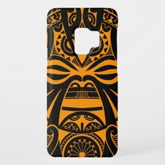 Polynesian tiki mask tattoo totem face Samsung Galaxy S9 phone case
