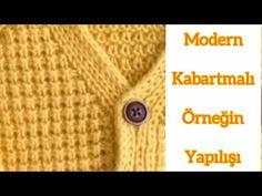 Modern kabartmalı örneğin yapılışı - YouTube Crochet For Kids, Knit Crochet, Stitch Patterns, Knitting Patterns, Jacket Pattern, Modern, Baby Kids, Youtube, Baby Cardigan