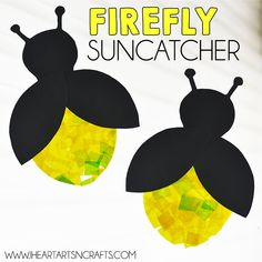 Eric carle inspired firefly suncatcher craft - i heart arts n crafts Bee Crafts For Kids, Summer Crafts For Toddlers, Paper Plate Crafts For Kids, Craft Projects For Kids, Arts And Crafts Projects, Toddler Crafts, Craft Ideas, Paper Crafts, Insect Crafts