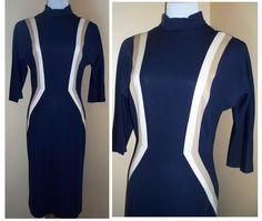 Vintage 60's MOD Midi Abella Paris Color Block Navy Blue dress M L