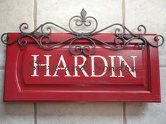 Personalized Cabinet Door SIgn with metal accent by TheSignDivas