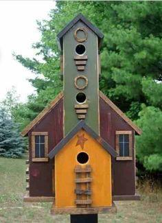Items similar to Large Folk Art Primitive Saltbox Bird House 5 Nesting Yard Flower Garden Birdhouse on Etsy - Modern Design Bird House Feeder, Bird House Plans, Pintura Country, Bird Cages, Fairy Houses, Yard Art, Bird Feathers, Beautiful Birds, Tabletop