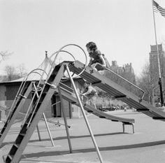 Going down the slide backwards - 1956- Who remembers doing this on the school playground?