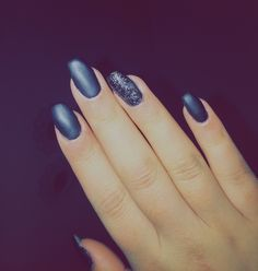 Black matte with glitter nails