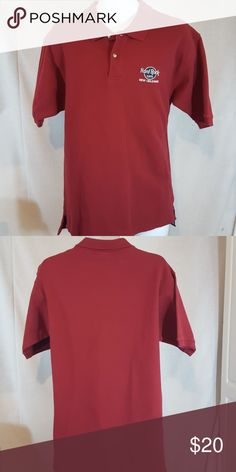 "Hard rock cafe New Orleans red large polo Good condition.  Measures 21"" across chest and 30"" long from top mid shoulder to bottom hem Shirts Polos"