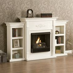 Fredricksburg Gel Fireplace w/ Bookcases - Ivory