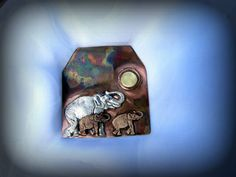 Elephant Family at Dusk by HandForgedWithLove on Etsy