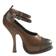 The burnished leather adds a vintage and old worldly charm to this pair of high-heeled platforms. The covered platform, stacked heel and double ankle straps