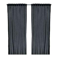 IKEA VIVAN Gardinenpaar in schwarz; (145x300cm) Vorhang Vorhänge Gardinen