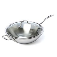 "Calphalon Tri-Ply Stainless Steel 12"" Stir Fry & Cover & Reviews 