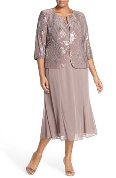 Alex Evenings Sequin Mock Two-Piece Dress with Jacket (Plus Size) available at #Nordstrom