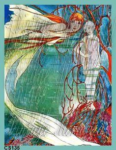 Beautiful Vintage Mermaid Fabric Block Print by QUILTFABRICBLOCKS, $6.99
