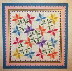 Susan Roberts Peony Pastels Quilt Pattern Handpainted Needlepoint Canvas #SusanRobertsDesigns #Handpainted