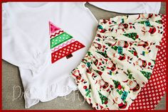 Santa Skirt and applique Christmas Tree shirt Set by DressReHERSal, $38.00