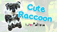 Cute Raccoon Charm / Mini Figurine Rainbow Loom Tutorial   How To tutorial by Tutorials By A.