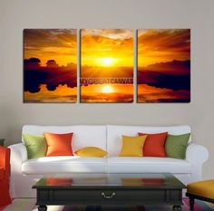 Large Wall Art Canvas Amazing Colorful Sunset Reflection on Sea