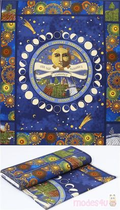 moon calendar circle-shaped design on rich blue quilting cotton panel fabric, with vintage moon with man's face, golden stars, patterned circles frame in yellow, brown etc., radiant colours, many details and beautiful print #Cotton #Retro #FullPattern #USAFabrics Moon Calendar, Retro Fabric, Golden Star, Retro Design, Kawaii, Fabric Patterns, Blue Brown, Cotton Fabric, Colours