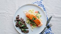 Pan-Roasted Salmon with Grapefruit-Cabbage Slaw | Bon Appetit Recipe