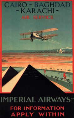 Egypt North Africa Pyramids Air Travel Airplane Cairo Vintage Poster Repro Large | eBay