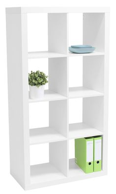 Malmo 8 Cube Bookcase Unit White nternal cube dimensions are W 340 x D 390 x H 340 mm each Cube Bookcase, Bookshelves, Bookcase White, Bookcases For Sale, Wall Mounted Desk, My Workspace, Home Office Furniture, Room Ideas, Decor Ideas
