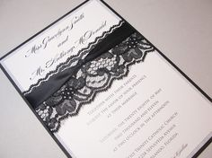 LACEY-3 Lace Wedding Invitation, Invite, Vintage, Shabby Chic, Couture
