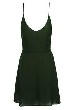 Dark Green Chiffon Skater Dress on Glamorous