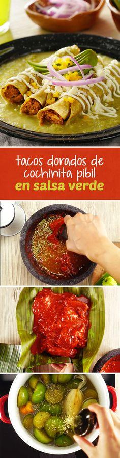 Si te sobró un poco de cochinita pibil de días anteriores, prepara esta receta de tacos dorados de cochinita pibil y salsa verde de habanero. Una receta mexicana fácil y económica que te hará quedar como el anfitrión estrella en el #mundial2018