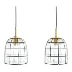 Limburg Pair of Iron and Glass Pendant Lamp with Polished Brass, 1960