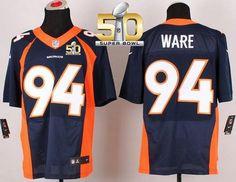 repjerseys.ru Mens Denver Broncos #94 DeMarcus Ware Navy Blue Alternate Super Bowl 50 Elite Jersey