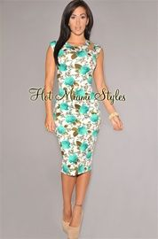 Ivory Jade  Floral Cut-Out Midi Dress