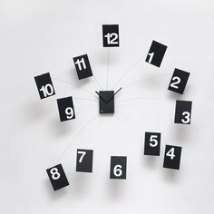 Excellent designer high-end modern black and white wall mounted analog clock with floating hour numbers connected by thin steel wire. Unique Clocks, How To Make Wall Clock, Diy Clock, Clock Ideas, Karim Rashid, Square Tables, Geometric Wall, Ad Design, Pottery Barn