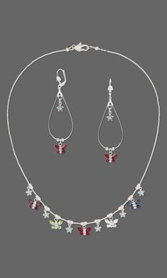 Single-Strand Necklace and Earring Set with Swarovski Crystal and Sterling Silver Charms and Drops and Sterling Silver Beads