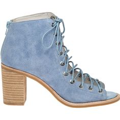 JEFFREY CAMPBELL Cors Light Blue Suede Lace-Up Bootie ($92) ❤ liked on Polyvore featuring shoes, boots, ankle booties, lace up booties, jeffrey campbell booties, lace up ankle boots, high heel booties and suede bootie