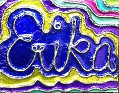 raised name foil designs, glue string to cardboard, use white glue to attach foil, rub with a felt square to burnish, use q tip to burnish small area. when dry colour low spots with sharpie, don;t colour raised area