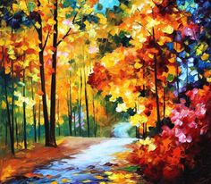 Arte Deco otoño rojo Hojas óleo sobre lienzo por AfremovArtStudio