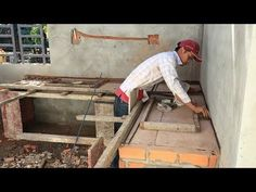 How To Build And Install Table Kitchen Made Of Brick And Cement - Latest Construction Technologys - YouTube